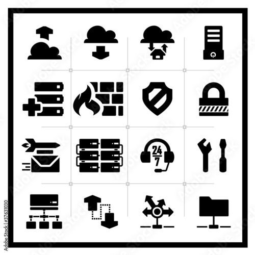 Icons set hosting – square series