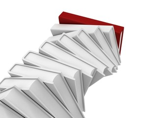stack tower of white books with red top leader