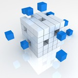 teamwork business abstract concept with blue cubes - 37632073