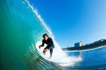Surfer on Amazing Blue Ocean Wave