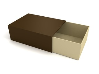 Open empty gift brown box on white background