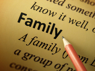 "Pointing to the word ""Family"""