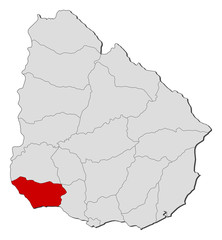 Map of Uruguay, Colonia highlighted