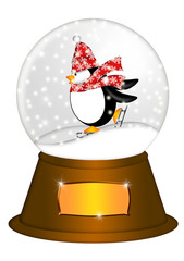 Water Snow Globe with Penguin Ice Skating Illustration