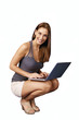 Cute smiling girl with laptop on knee