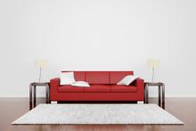 Czerwona kanapa z dywanem