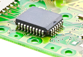 Closeup of electronic integrated circuit