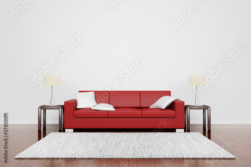Red couch with carpet