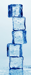 Melting ice cubes isolated on white