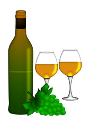 White Wine Bottle and Two Glasses and Bunch of Grapes