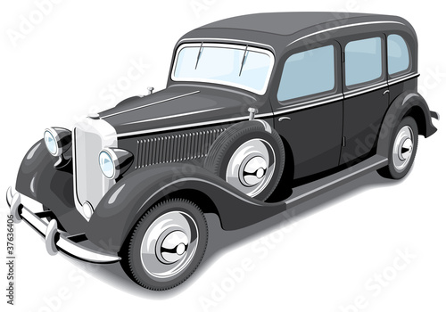 Vector isolated retro car without gradients