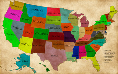 Map of USA with states