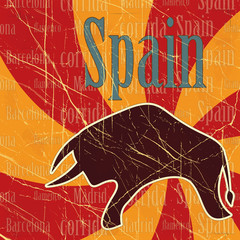 Spanish bull on grungy background