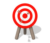 Target board with arrows on the white background. 3d illustratio