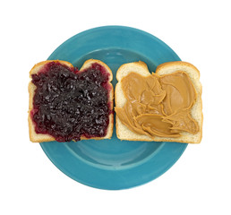 Open face peanut butter jelly