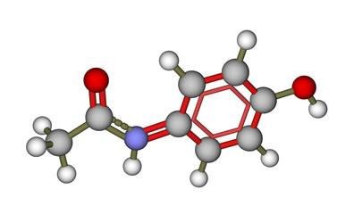 Molecule of paracetamol (acetaminophen)