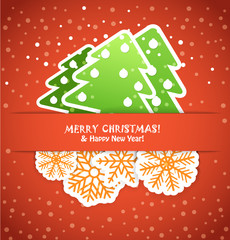 Happy new year greeting card with paper flakes