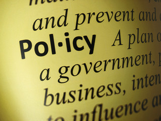"Closeup to the word ""Policy"""