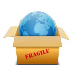 Icono caja de carton 3D conteniendo simbolo global