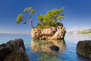 beautiful rock in brela, croatia