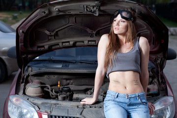Woman repair car