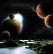 Abstract image of a planet with water. Find new sources and tech