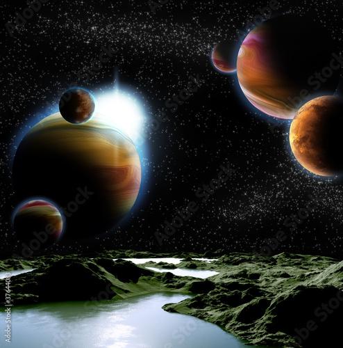 Abstrakcyjny obraz planety z wodą. Odkryj nowe źródła i tech