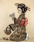 Tea ceremony: geisha with teapot and cherry blossom branch