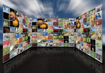 Sala de audiovisuales tridimensional.