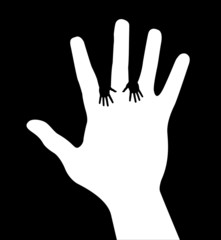 Helping hands, abstract vector illustration