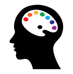 head with brain as palette, creative concept vector illustration