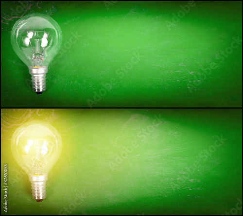 Lightbulb over green