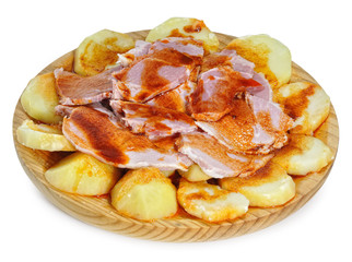 Ración de lacón con patatas.