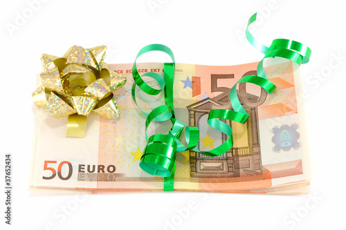 The most desired and necessary gift. Christmas wrapped Money