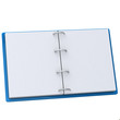 Blank open book with blue cover 3d