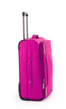 Pink suitcase isolated on a white
