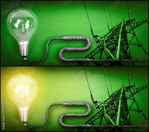 Lightbulb and electricity pylon connected by pipe