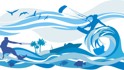 water sports - kite surfing, water skiing, jet