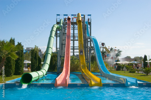 Four big water slides in aqua park