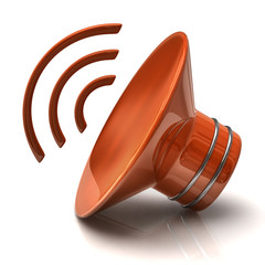Illustration of orange speaker icon