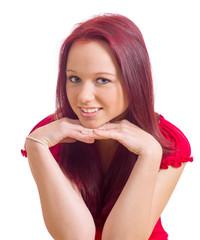 sitzende Frau stützt Kopf auf Ihre Hände
