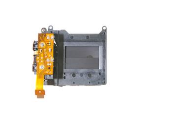 Frontside of  broken camera shutter isolated
