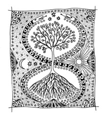 Tree of Life, and two snakes. Graphic picture.
