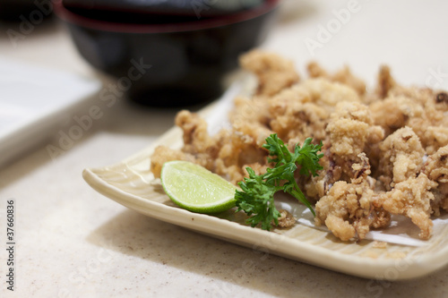 Fried Squid with Lemon on Dish