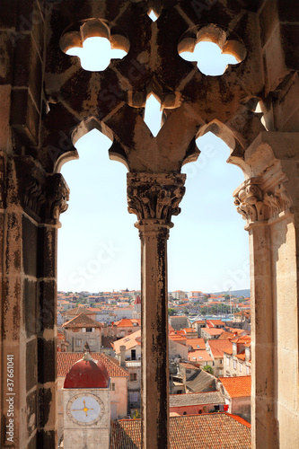 Trogir from window of cathedral tower, Croatia