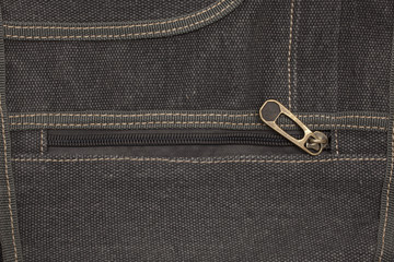 Jeans material with zipper