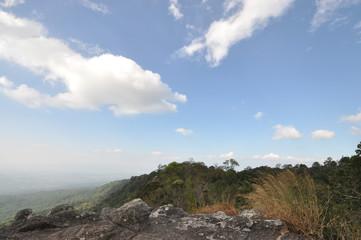 on the peak of mountain.