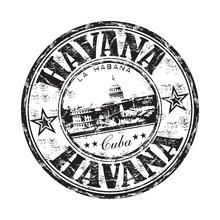 La Havane grunge rubber stamp