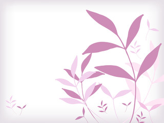 Fondo bianco con foglie rosa
