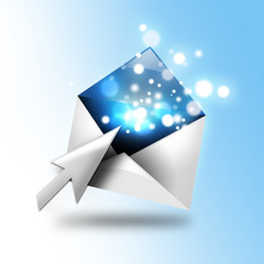 Email Letter With Sparkles and Arrow
